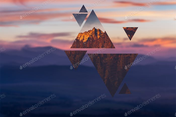 Geometric polyscape with triangles and mountains