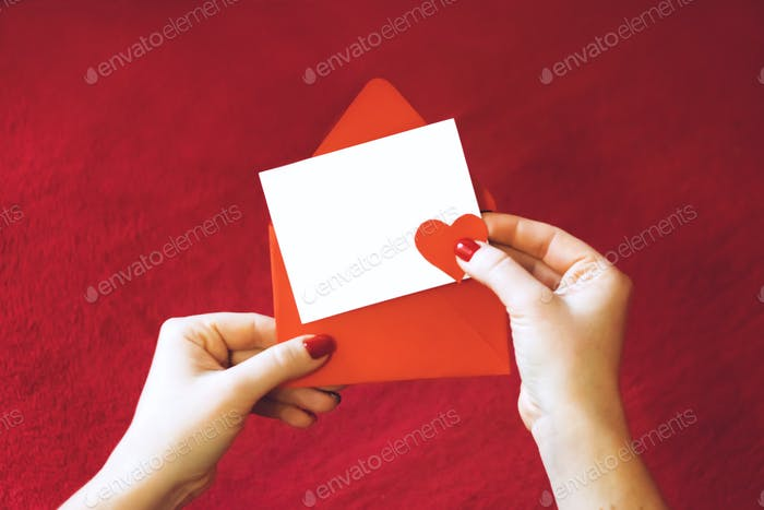 Valentines day greeting card, mockup with copy space