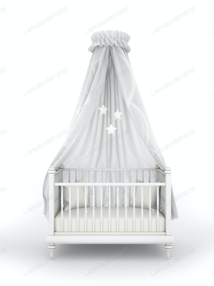 Children bed isolated on white background 3D rendering