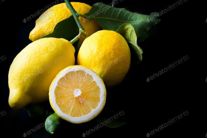 lemon  on black