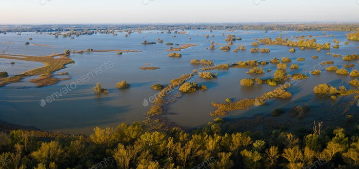 Flooded inundation of Moravia river with water outside riverbanks