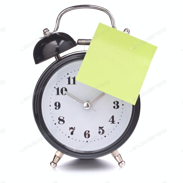 Alarm clock with sticky paper