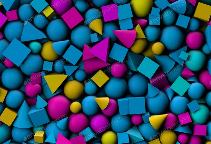 3d illustration background with color geometric shapes