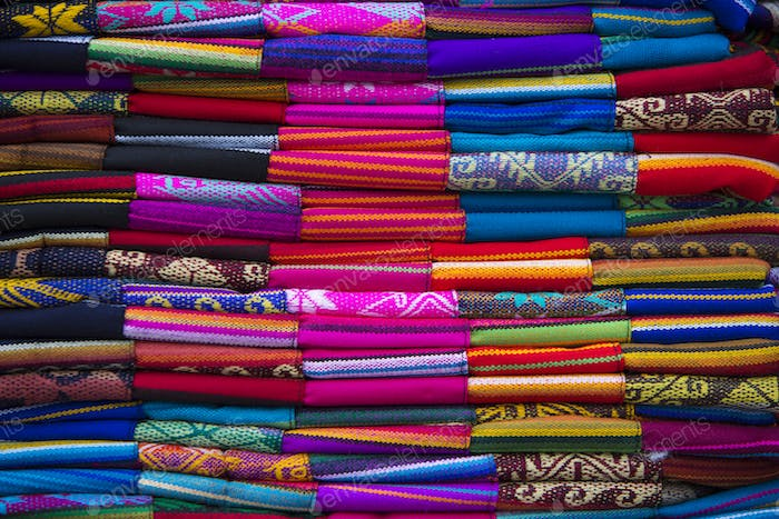 Colorful Fabrics at Otavalo market in Ecuador.
