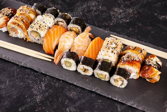 Variety mix of different types of sushi