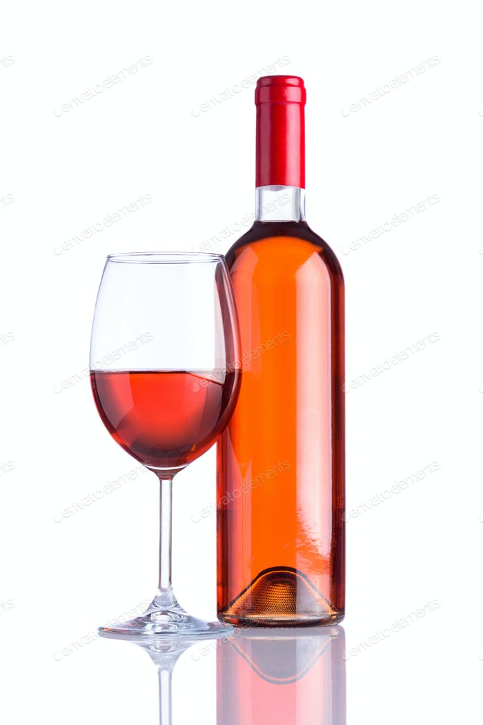 Bottle and Glass Rose Wine on White Background