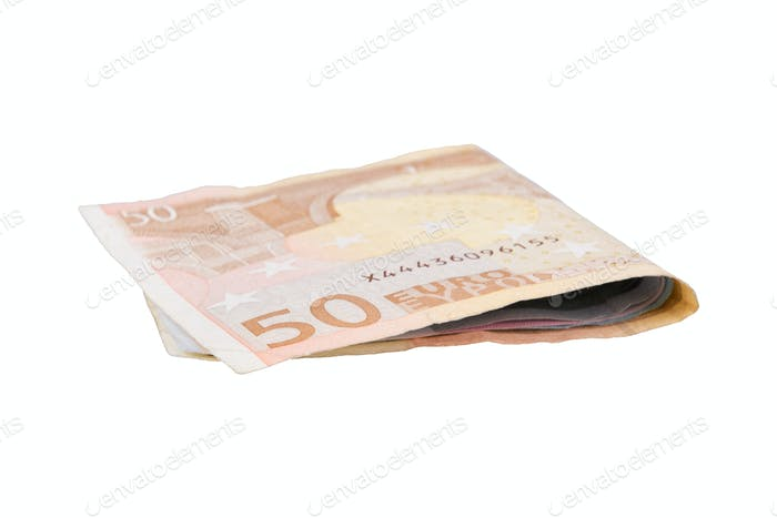 Euro banknotes on a white background