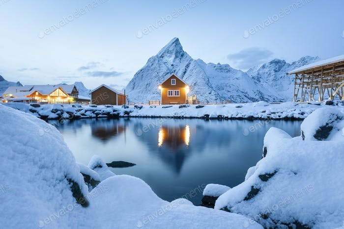 View on the house in the Sarkisoy village, Lofoten Islands, Norway. Landscape in winter time