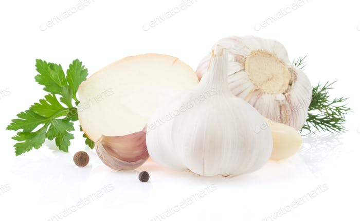 garlics and onion spices isolated on white