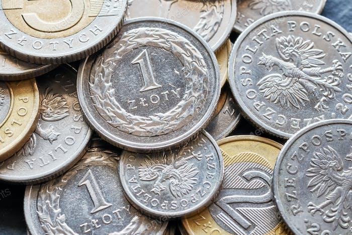 Nahaufnahme Bild von polnischen Zloty Münzen.