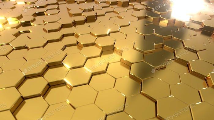 Fondo hexagonal dorado