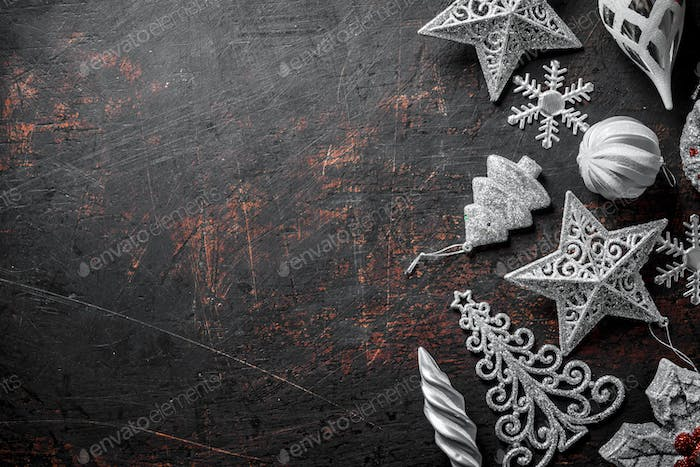 Set of silver Christmas decorations.
