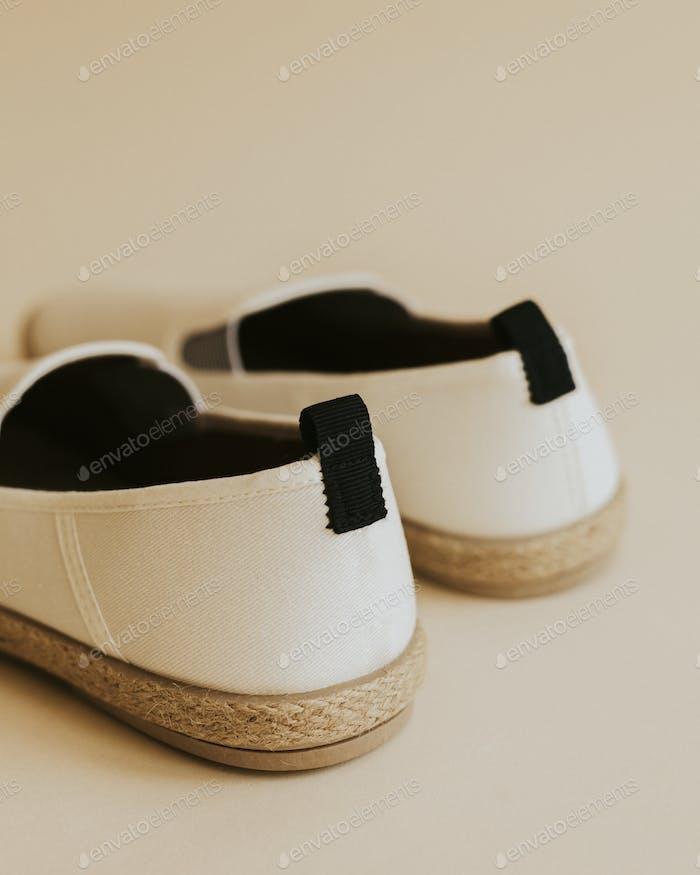Men's white espadrilles shoes mockup rear view