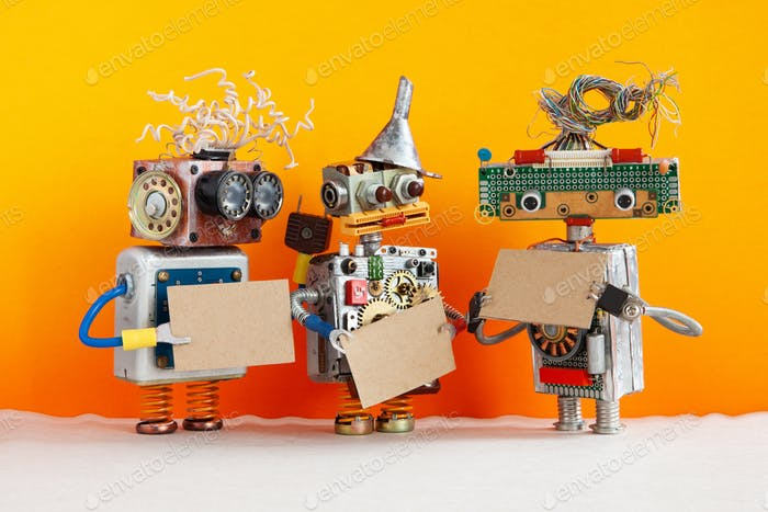 Comical robots with a cardboards mockups.