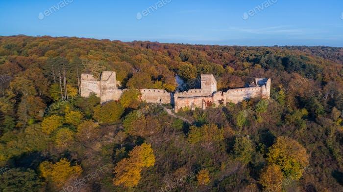 Medieval fortified saxon fortress in Saschiz village. Transylvania, Romania