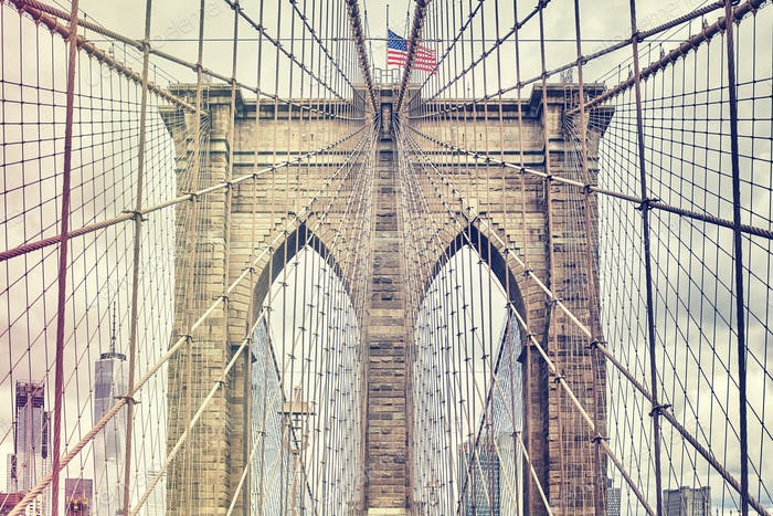 Brooklyn Bridge, one of New York City symbols, USA.