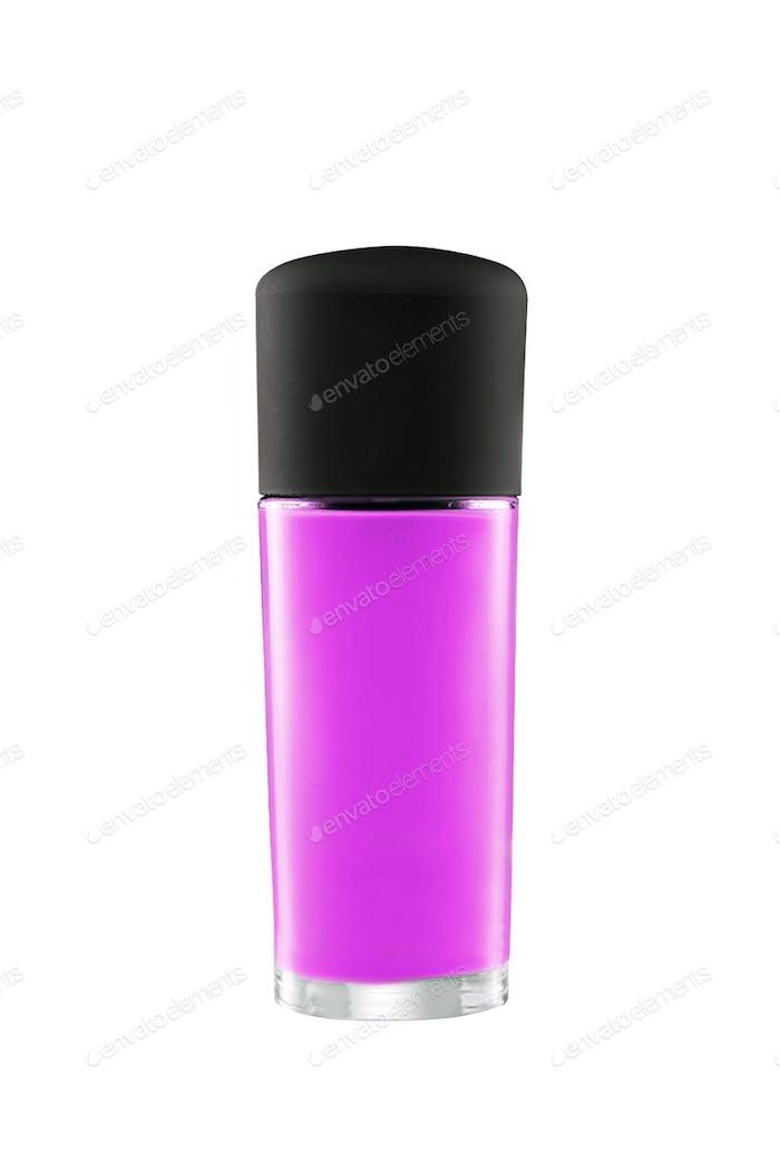 Pink perfume bottle isolated on white background