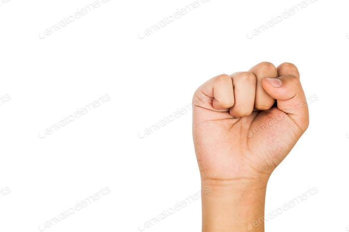 Hand with tightened fist against white background.