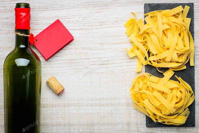 Wine and Tagliatelle Pasta Copy Space