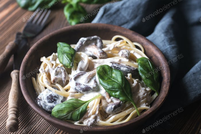 Portion of creamy mushroom linguine
