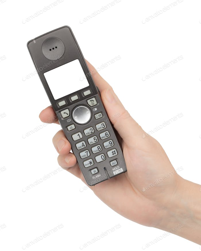 Female hand holds a phone with a blank screen, isolated on white background