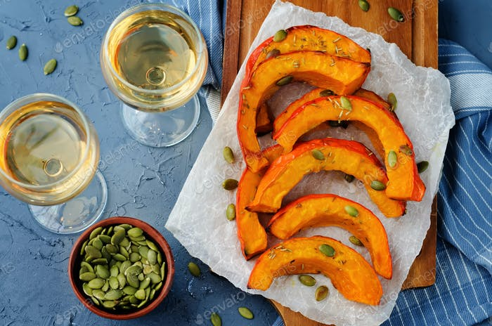 Rosmary honey roasted pumpkin wedges with pumpkin seeds