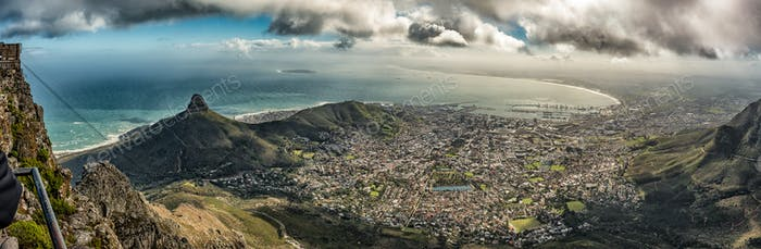 Panoramic view from top of Table mountain in Cape Town