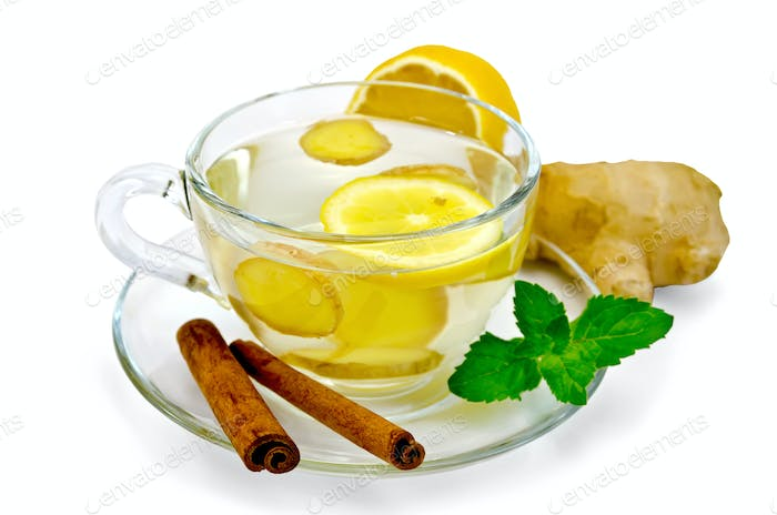 Tea ginger with lemon and cinnamon