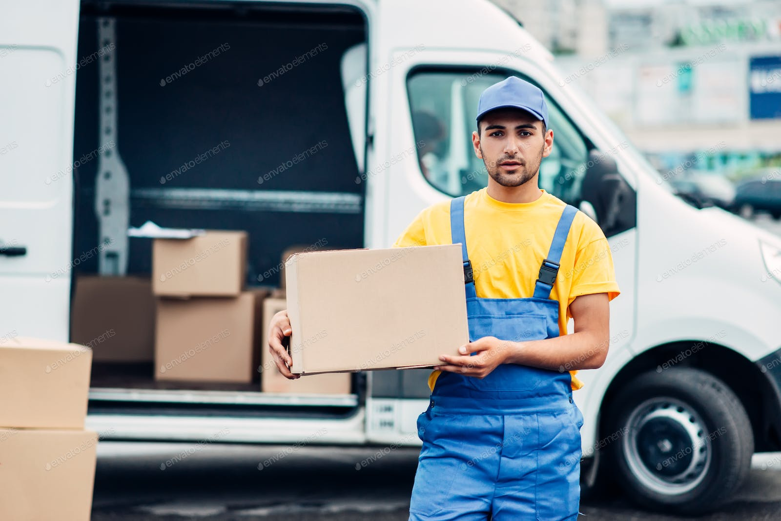 Cargo delivery service, male courier unload truck photo by