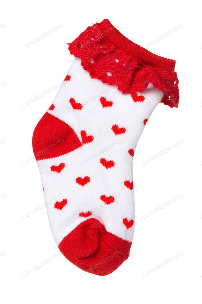 sock with heart pattern