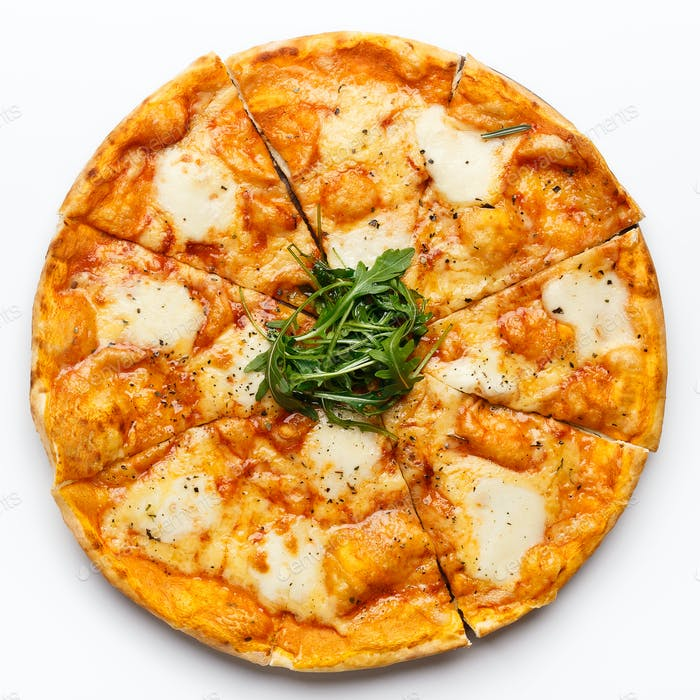 Italian cheese pizza on white table, top view