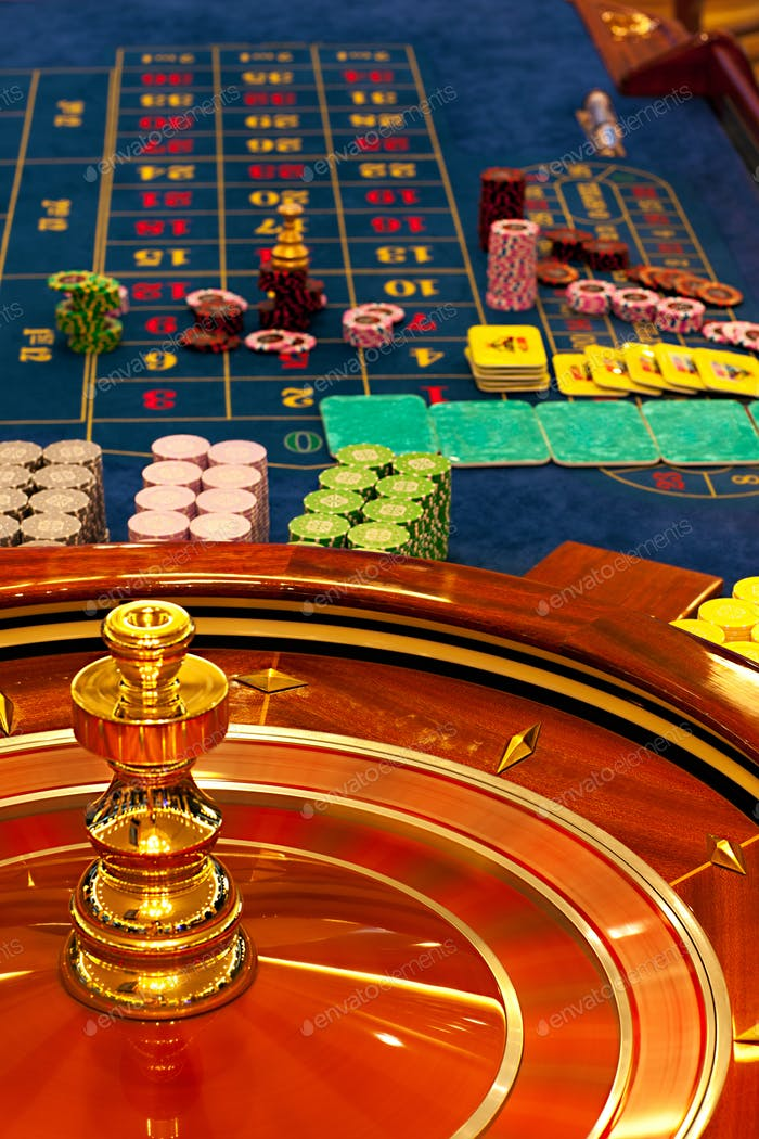 wooden roulette wheel spinning