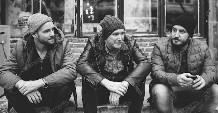 Adult Men Talk Sit Together Friends