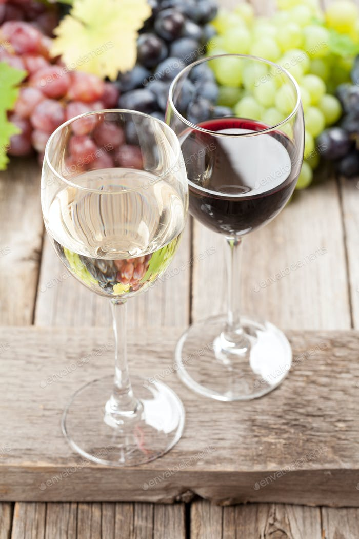 Wine glasses and grapes