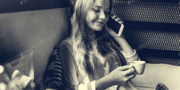 Girl Talking Conversation Phone Concept