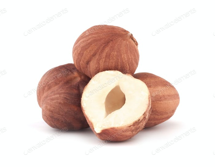 Issolated hazelnut on white background