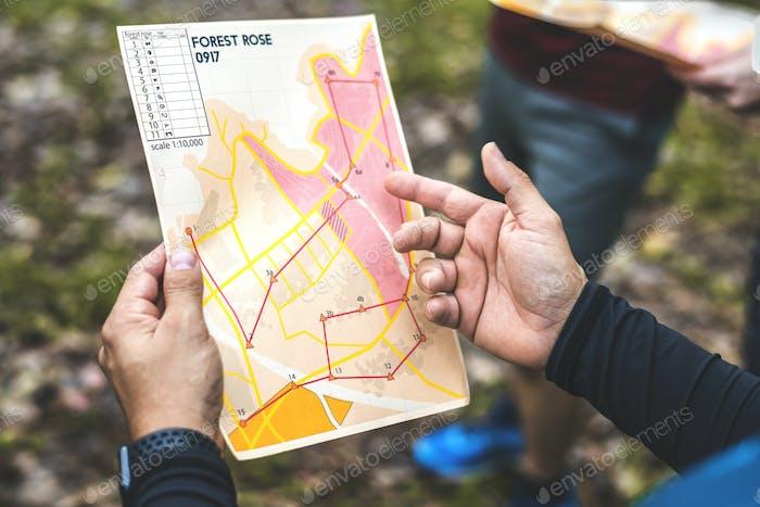 Mapa de ubicación de Closeup of orienteering box