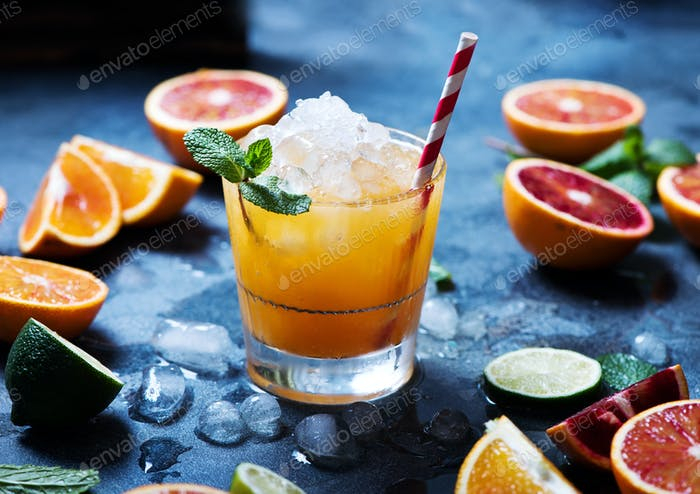 Cocktail with Crashed Ice and Citrus Fruits
