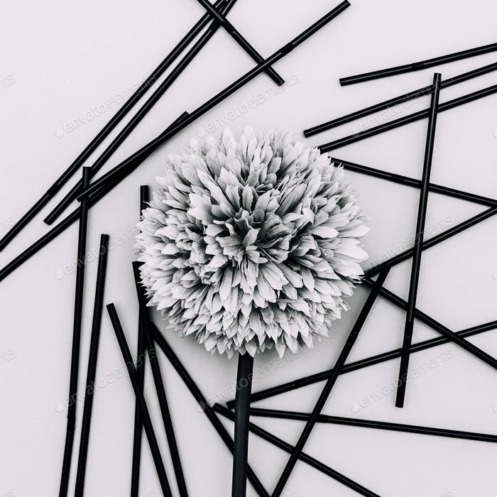 Flower black and white minimal art