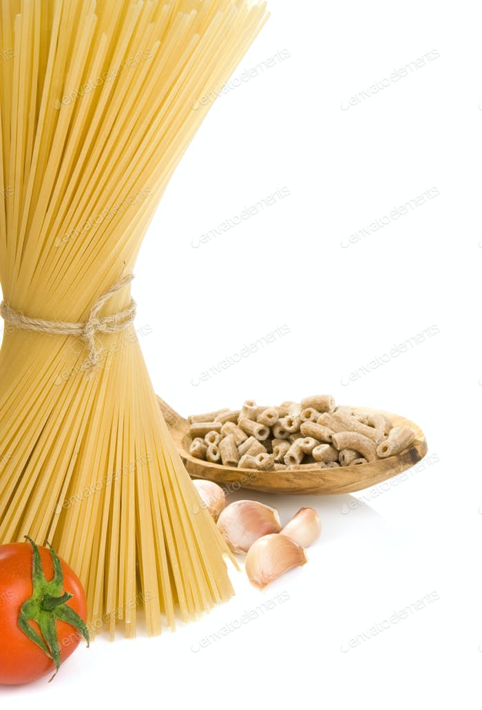 pasta and wooden spoon