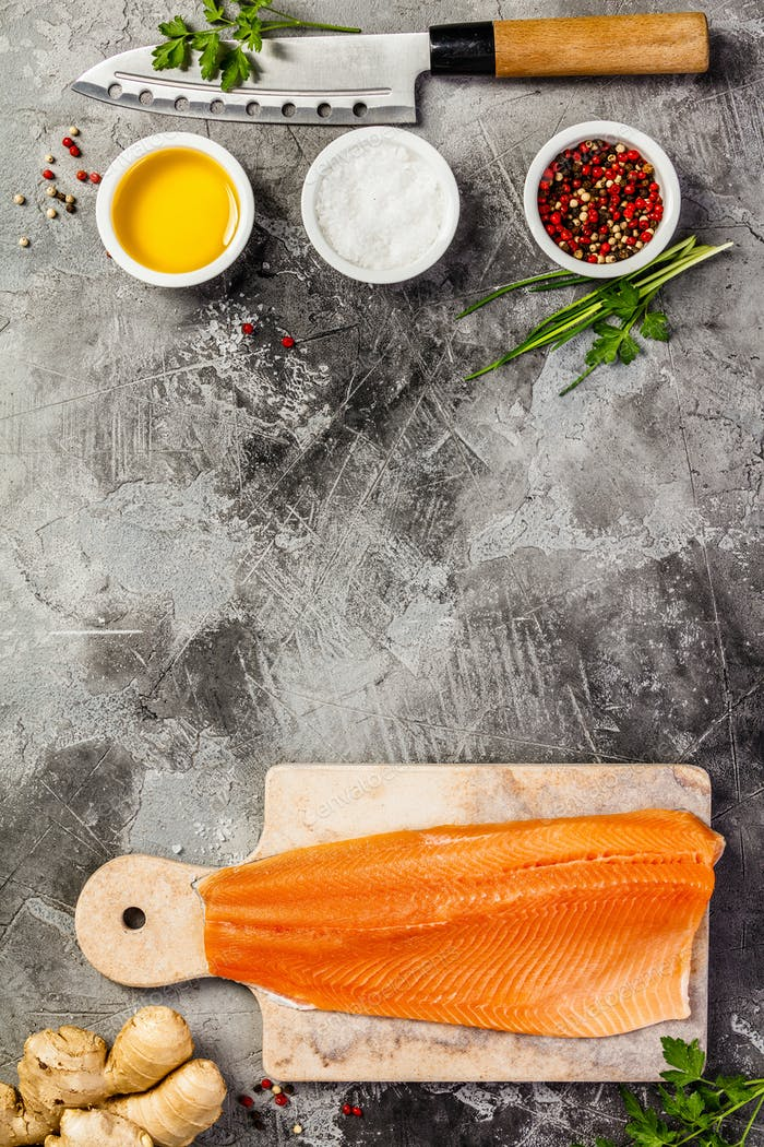 Raw salmon filet and ingredients, flat lay, top view