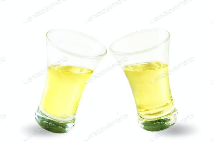 Glasses of tequila liquor isolated