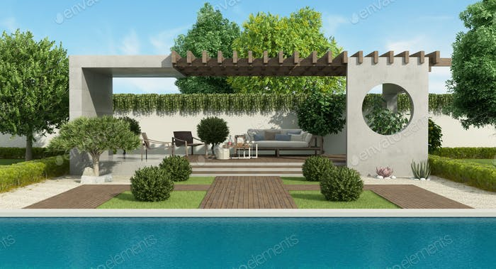Luxury garden with concrete gazebo and large swimming pool