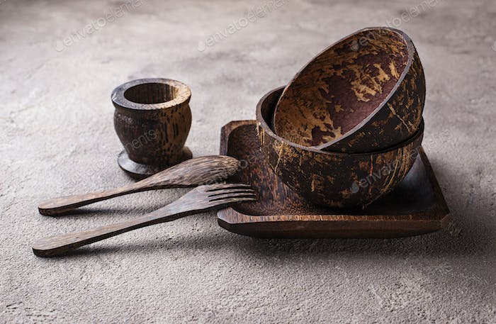 Bowls and plates  made from coconut shell