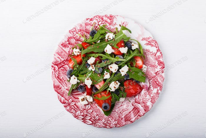 Salad of fresh strawberries,blueberries