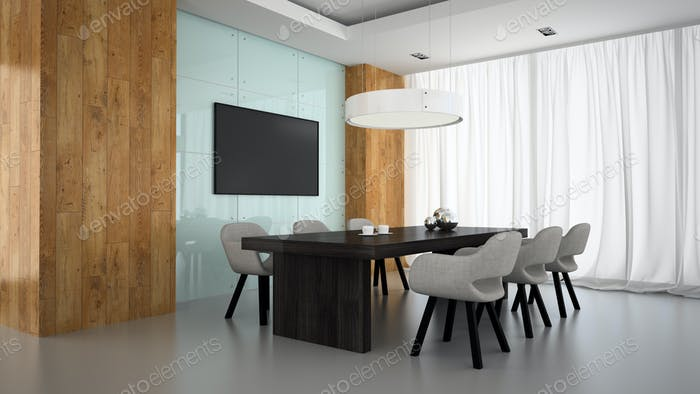 Modern interior of meeting room with wooden wall 3D rendering