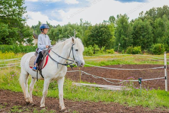 Mädchen reitet ein weißes Pferd auf der Natur