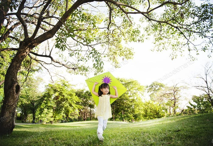 Girl Kite Casual Child Happiness Leisure Summer Concept