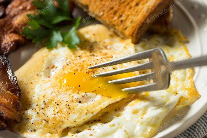 Homemade Over Easy Eggs with Bacon