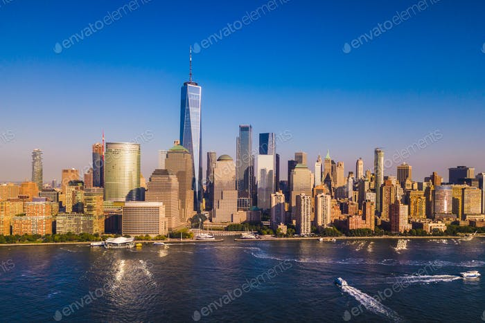 Lower Manhattan Skyline with a view of the One World Trade Cente